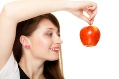 Diet. Girl holding apple seasonal fruit. Royalty Free Stock Photos