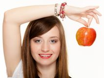 Diet. Girl holding apple seasonal fruit. Royalty Free Stock Image