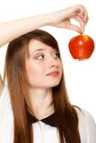 Diet. Girl holding apple seasonal fruit. Stock Photos