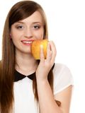 Diet. Girl offering apple seasonal fruit. Diet and nutrition. Happy young woman offering apple seasonal fruit  on white. Girl recommending healthy lifestyle Stock Photo