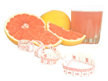Diet grapefruit. With juice and centimetre Stock Photo