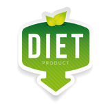 Diet green label with leaves. Vector Stock Image