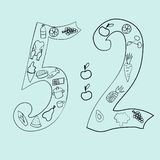 The 5-2 diet hand drawn vector illustrations in doodle style. royalty free illustration