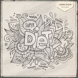 Diet hand lettering and doodles elements Stock Images