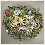 Diet hand lettering and doodles elements Royalty Free Stock Photography