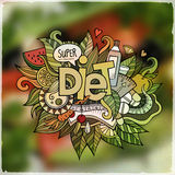 Diet hand lettering and doodles elements emblem Stock Photo