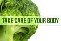Diet, health concept, macro close up of broccoli royalty free stock photography