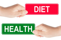 Diet and Health traffic sign in the hand Royalty Free Stock Photo