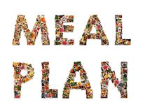 Meal plan words made of small photos on white background. Diet and healthy eating conceptual design. Meal plan written with small shoots of natural food royalty free stock images