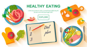 Diet and healthy eating food concept. Vector flat design icons elements  on white background. Healthy food. Food, diet, healthy lifestyle and weight loss Royalty Free Stock Photo