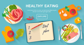 Diet and healthy eating food concept. Vector flat design icons elements  on white background. Healthy food. Food, diet, healthy lifestyle and weight loss Royalty Free Stock Images