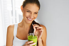 Diet. Healthy Eating Woman Drinking Juice. Lifestyle, Food. Nutr Stock Photo