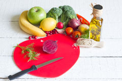 Diet and healthy food on a red heart Stock Image