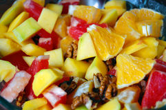 Diet, healthy fruit salad in bowl Stock Photo