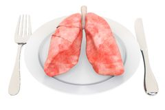 Diet for Healthy Lungs concept, 3D rendering. Isolated on white background royalty free illustration