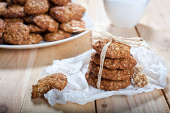 Diet and healthy muesli cookies royalty free stock photography