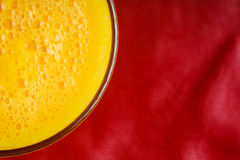 Diet healthy nutrition. Closeup of fresh yellow fruit juice in glass Royalty Free Stock Photography