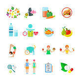 Diet healthy nutrition lifestyle we vector icon set. Diet healthy nutrition lifestyle web flat vector icon set. Fast food fresh pure juice water spa fruit stock illustration