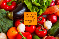 Diet after Holidays. Vegetables and fruits background Royalty Free Stock Photography
