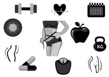 Diet icons black Royalty Free Stock Photography