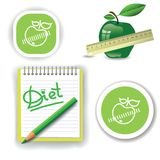 Diet icons. Colorful illustration with diet icons for your design Stock Photography