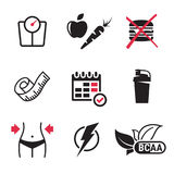 Diet icons set Royalty Free Stock Images