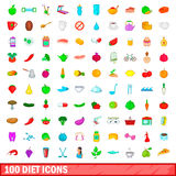 100 diet icons set, cartoon style. 100 diet icons set in cartoon style for any design vector illustration Royalty Free Stock Photos