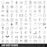 100 diet icons set, outline style. 100 diet icons set in outline style for any design vector illustration Stock Photo