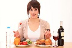 Diet. Image of a woman refusing a unhealthy cake Stock Photo