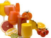 Diet juice. Five glasses of fresh juice from different fruit Stock Photo