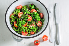 Diet kale salad full of vitamin and minerals Royalty Free Stock Image