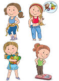 Diet kids. Contains transparent objects. EPS10 stock illustration