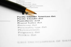 Diet list Stock Images