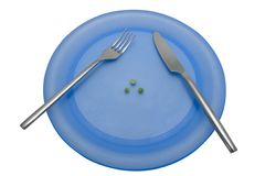 Diet lunch 4. A diet lunch of three peas. With clipping path Stock Image