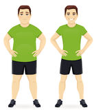 Before and after diet man. Fat and slim man, before and after weight loss in sportswear isolated Stock Photography