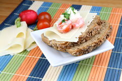 Diet meal. Salad from mozzarella, yogurt, tomato and radish on whole bread. Vegetable  and cheese Royalty Free Stock Photos