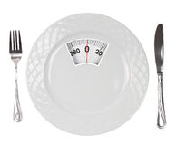 Diet meal. White plate with weight scale Stock Image