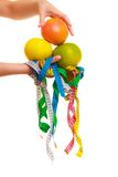 Diet. Measure tapes and citrus fruits in hand Royalty Free Stock Photography