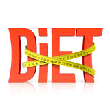 Diet with measuring tape concept. Illustration Royalty Free Stock Photography