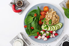 Diet menu. Healthy lifestyle. Vegan salad of fresh vegetables - tomatoes, cucumber, radish, spinach and oatmeal Stock Images