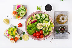 Diet menu. Healthy lifestyle. Vegan salad of fresh vegetables - tomatoes, cucumber, watermelon radish and avocado on plate and san Stock Photos