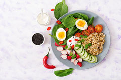 Diet menu. Healthy salad of fresh vegetables - tomatoes, cucumber, radish, egg, spinach and oatmea Royalty Free Stock Images