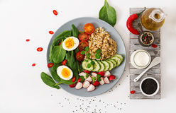 Diet menu. Healthy salad of fresh vegetables - tomatoes, cucumber, radish, egg, spinach and oatmeal Stock Photos
