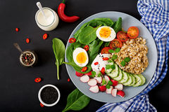 Diet menu. Healthy salad of fresh vegetables - tomatoes, cucumber, radish, egg, spinach and oatmeal Royalty Free Stock Photos