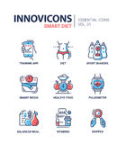 Diet - modern color vector single line icons set Royalty Free Stock Image