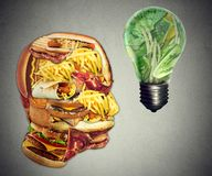 Diet Motivation and dieting inspiration concept. Human head made of greasy junk food with  lightbulb idea icon made of green fruits and vegetables as nutrition Stock Photo