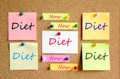 Diet Now Concept. Colorful sticky notes on cork board background diet now concept Royalty Free Stock Images