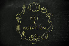 Diet & nutrition: vegetables illustration Royalty Free Stock Image