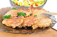 Diet oat flake. Pancake without meat with vegetable salad Stock Images