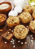 Diet oat muffins with raisins royalty free stock image